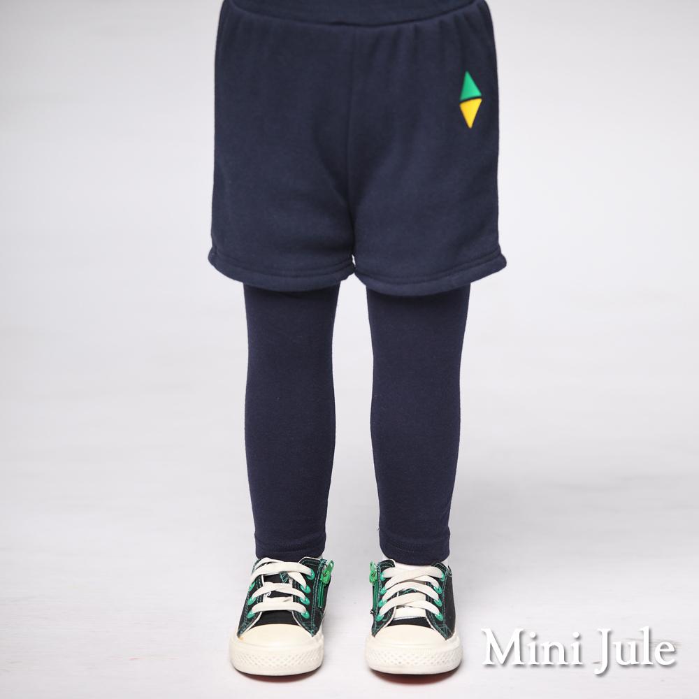 Mini Jule 童裝-長褲 三角型假兩件內搭長褲(深藍)