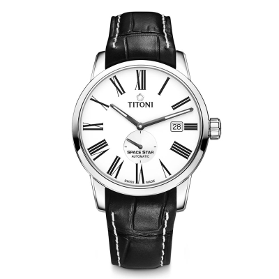 TITONI瑞士梅花錶 天星系列(83638 S-ST-608)-白/皮錶帶/40mm