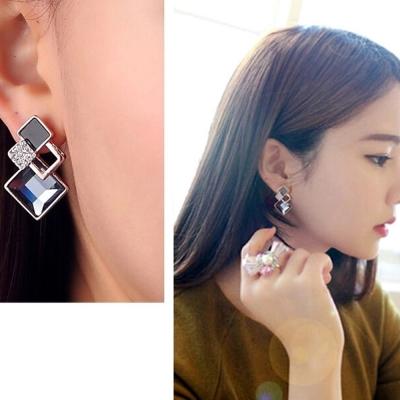 梨花HaNA-無耳洞方塊層次寶石宴會迷人耳環夾式