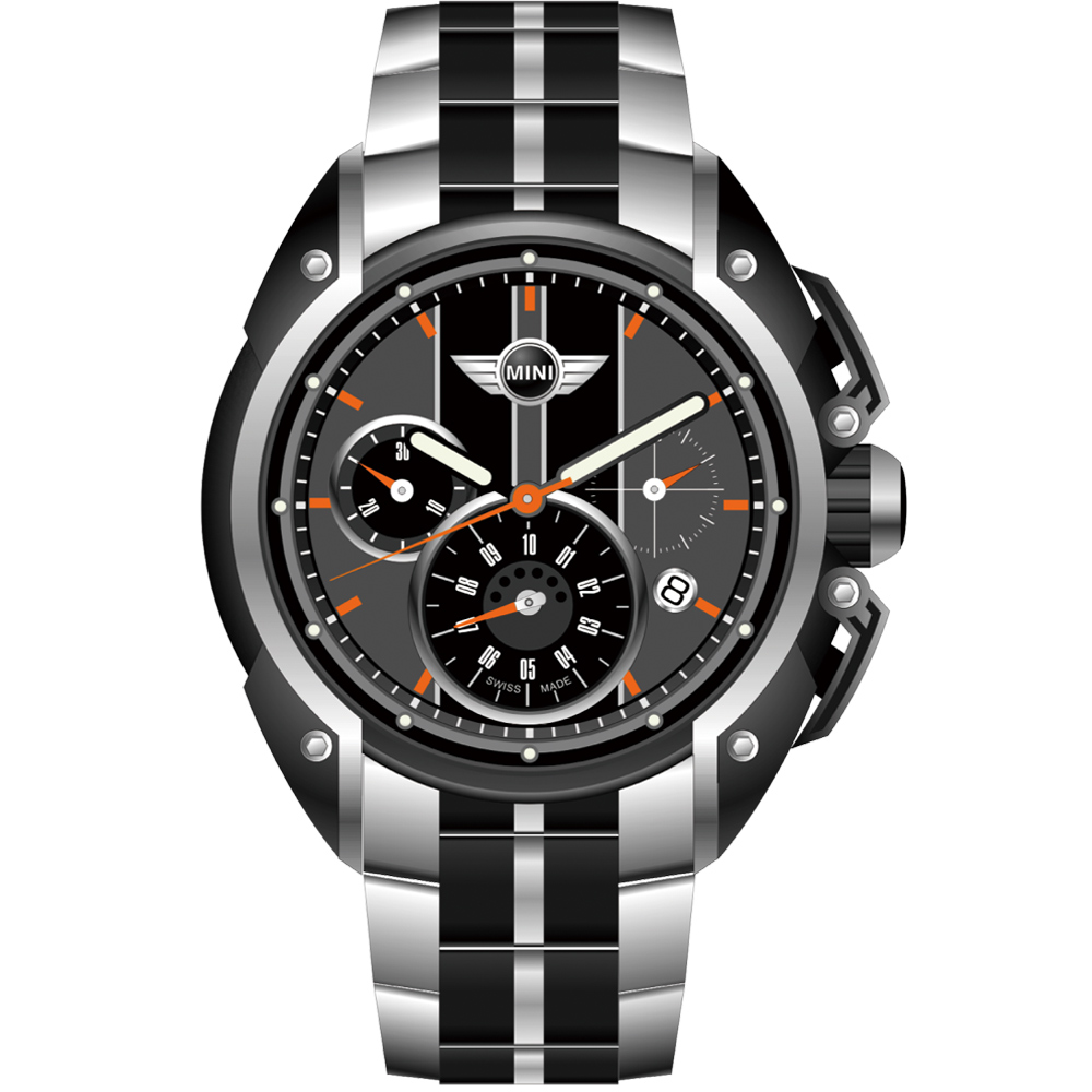MINI Swiss Watches 熱血剽悍三眼計時腕錶-黑-45mm