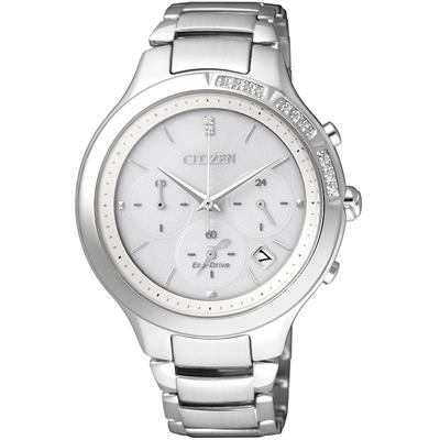 CITIZEN L 光動能閃耀晶鑽三眼計時女錶(FB4000-53A)-銀/37mm