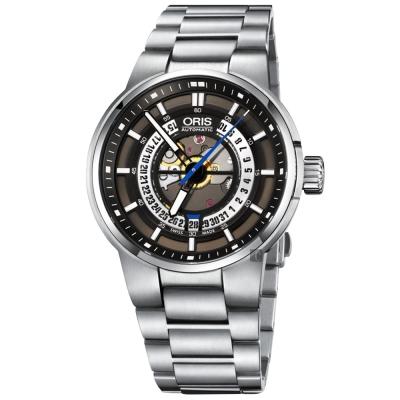 ORIS豪利時 Williams 引擎鏤空日期機械錶-灰/42mm