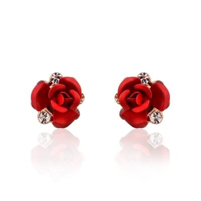 微醺禮物 水鑽 鍍K金 紅色玫瑰花 耳環