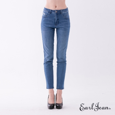 Earl Jean 都會風高腰壓腹小直筒褲-中藍-女