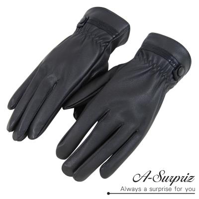 A-Surpriz-型男仿羊皮觸控全指手套-黑