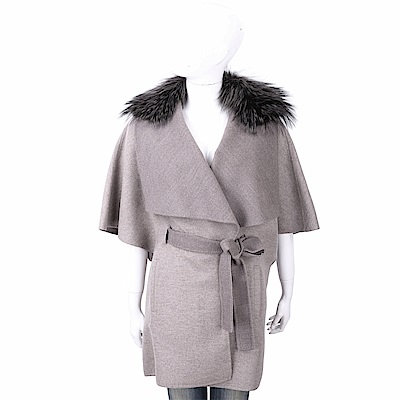 Manzoni 24 喀什米爾皮草領燕麥灰綁帶手工羊絨短大衣