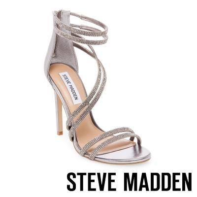 STEVE MADDEN-SWEETEST 水鑽細帶高跟涼鞋-錫色