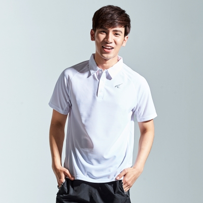 【AIRWALK】簡約立領排汗T恤-白色
