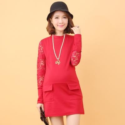 Keep-Chic孕婦裝-紅色刺繡透膚款氣質洋裝