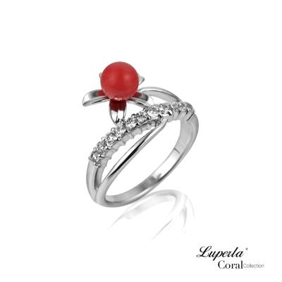 大東山珠寶 全紅珊瑚純銀戒指 花團錦簇