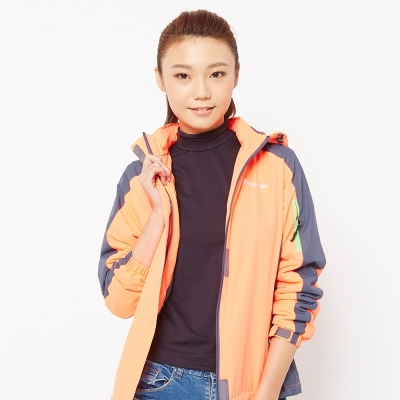 FIVE UP(女)-雙色防潑功能性連帽外套-亮橘