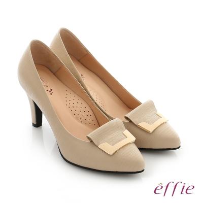 effie 個性美型 簡約飾扣環減壓奈米高跟鞋 卡其色