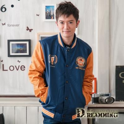Dreamming-韓系潮男撞色內刷毛棒球皮革外套-共二色