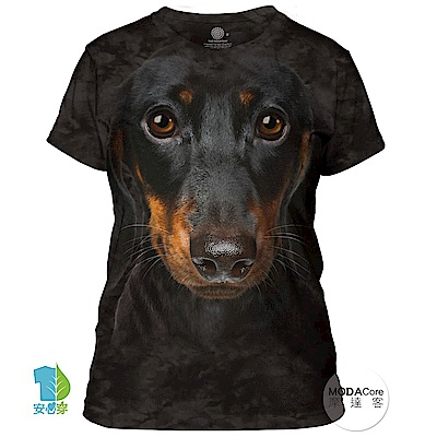 摩達客 美國進口The Mountain 長毛臘腸犬臉 短袖女版T恤