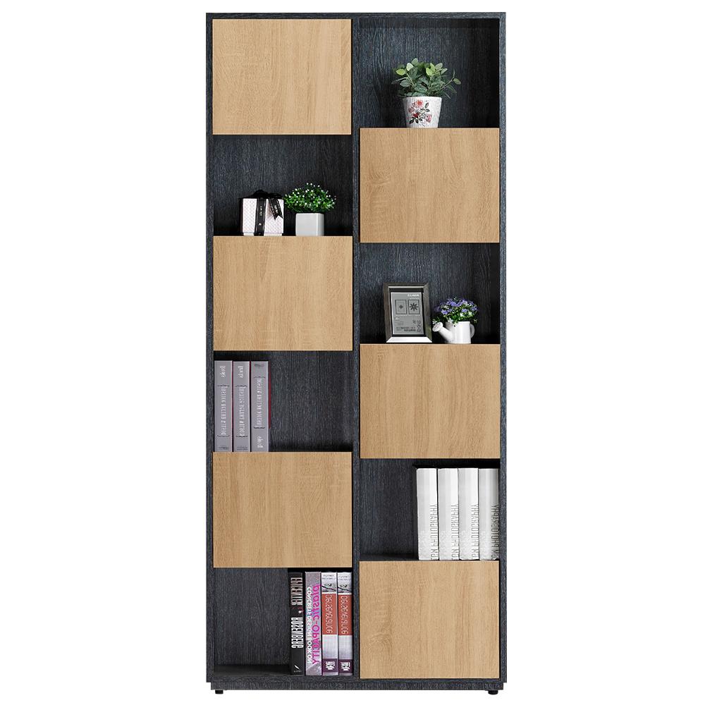 AT HOME-布拉格2.7尺鐵刀橡木紋六單門書櫃(右)