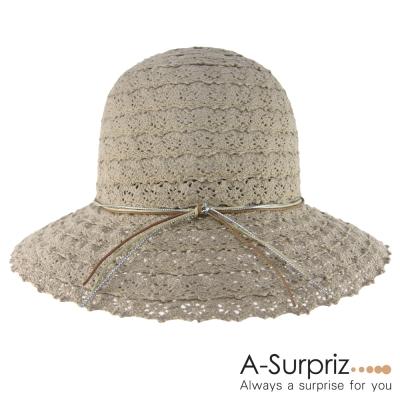 A-Surpriz-蕾絲布拼接綁線遮陽帽-可可
