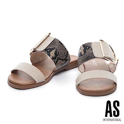 拖鞋 AS 蛇紋異材質拼接金屬釦平行繫帶拖鞋-米
