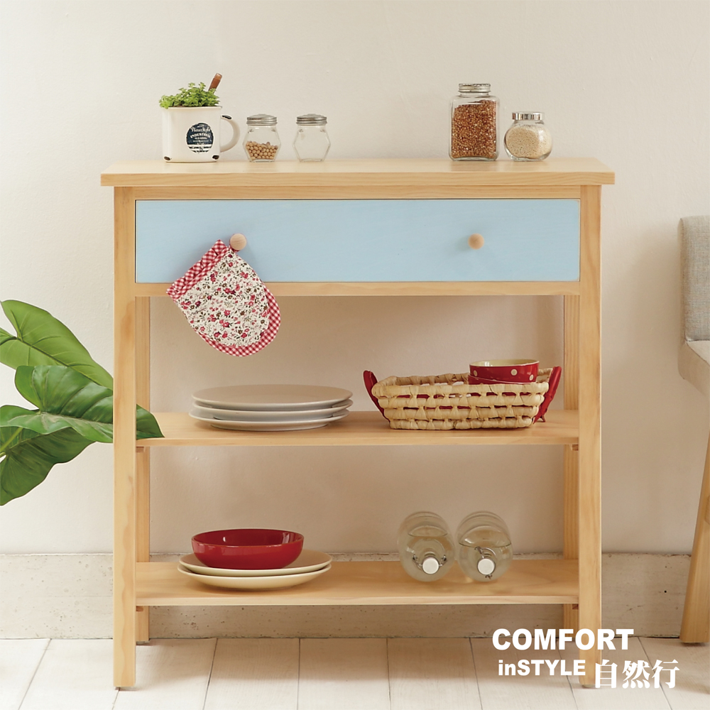 CiS自然行實木家具 電器櫃-碗盤櫃-雜貨櫃-置物櫃W80cm(水洗鄉村藍色)
