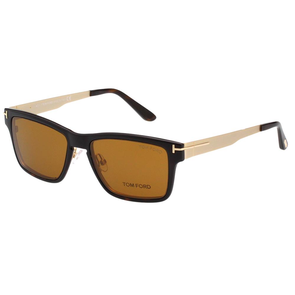 TOM FORD  前掛雙用 太陽+光學眼鏡-深琥珀+金-TOM5475