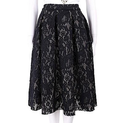 LOVE MOSCHINO 蕾絲織花黑色抓褶圓裙