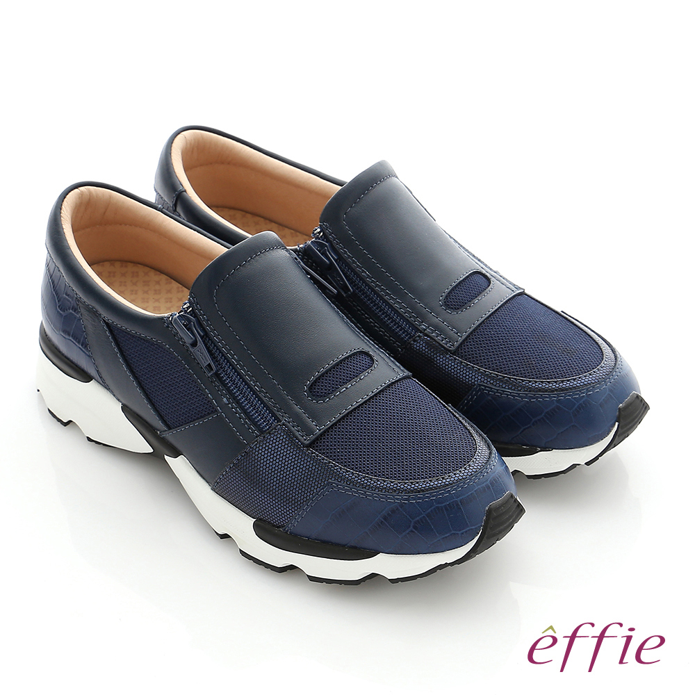 effie  輕量抗震 真皮拼接側拉鍊奈米健走運動鞋 藍色