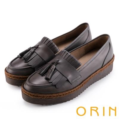 ORIN 懷舊復古文青風 簡約流蘇真皮樂福鞋-灰色