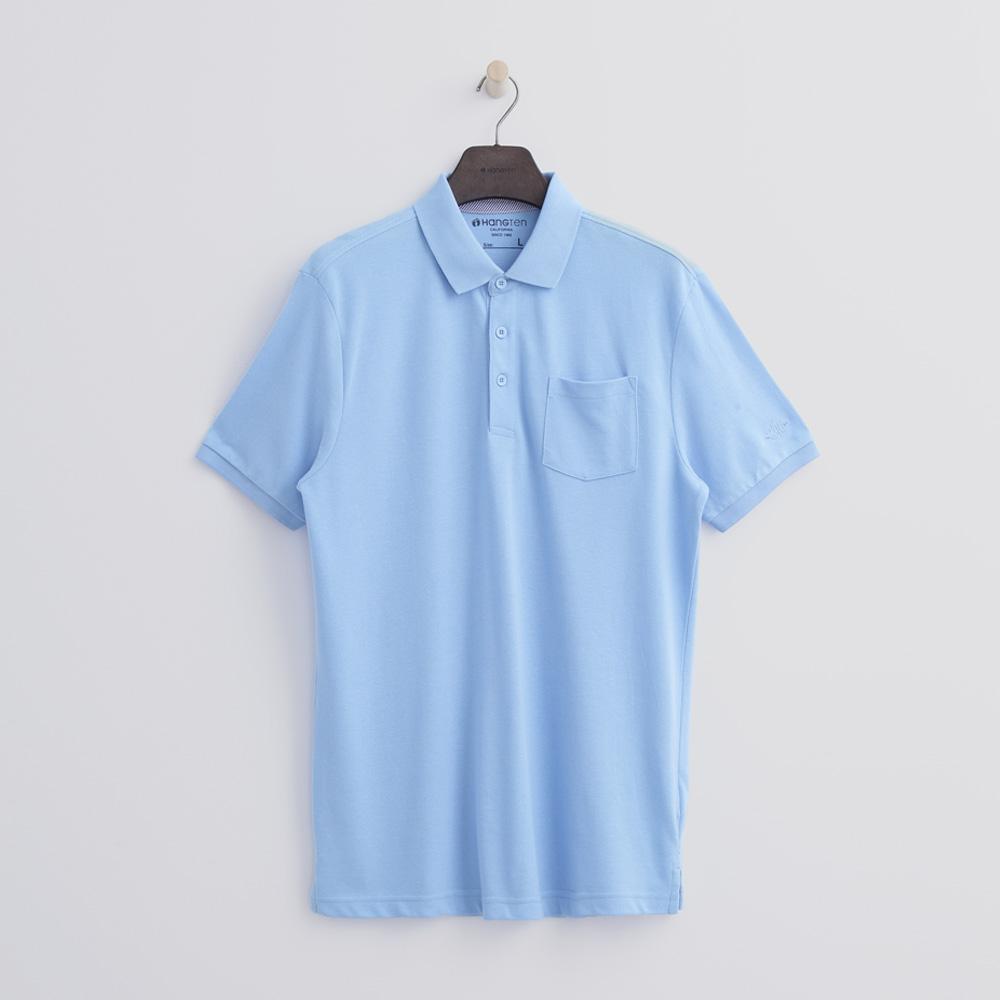 Hang Ten - 男裝 - 口袋純色POLO-藍色