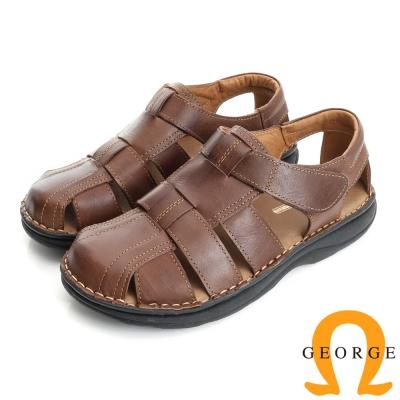 GEORGE 喬治-氣墊系列 真皮寬楦魔鬼氈休閒涼鞋拖鞋(男)-棕色