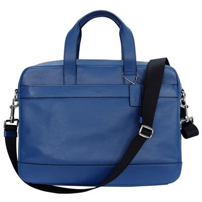 COACH單寧藍全皮壓字手提-斜背男包-電腦公事包