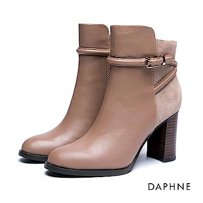 達芙妮DAPHNE 短靴-金屬皮釦牛皮異材質粗跟踝靴-杏