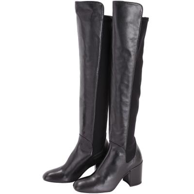 Stuart Weitzman Halftime 拼接設計過膝粗跟長靴(黑色)