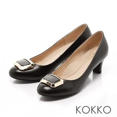 KOKKO-立體方扣真皮高跟鞋-不敗黑