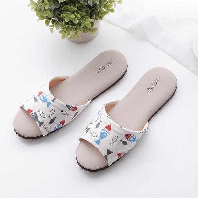 可愛布花-輕盈室內皮拖鞋