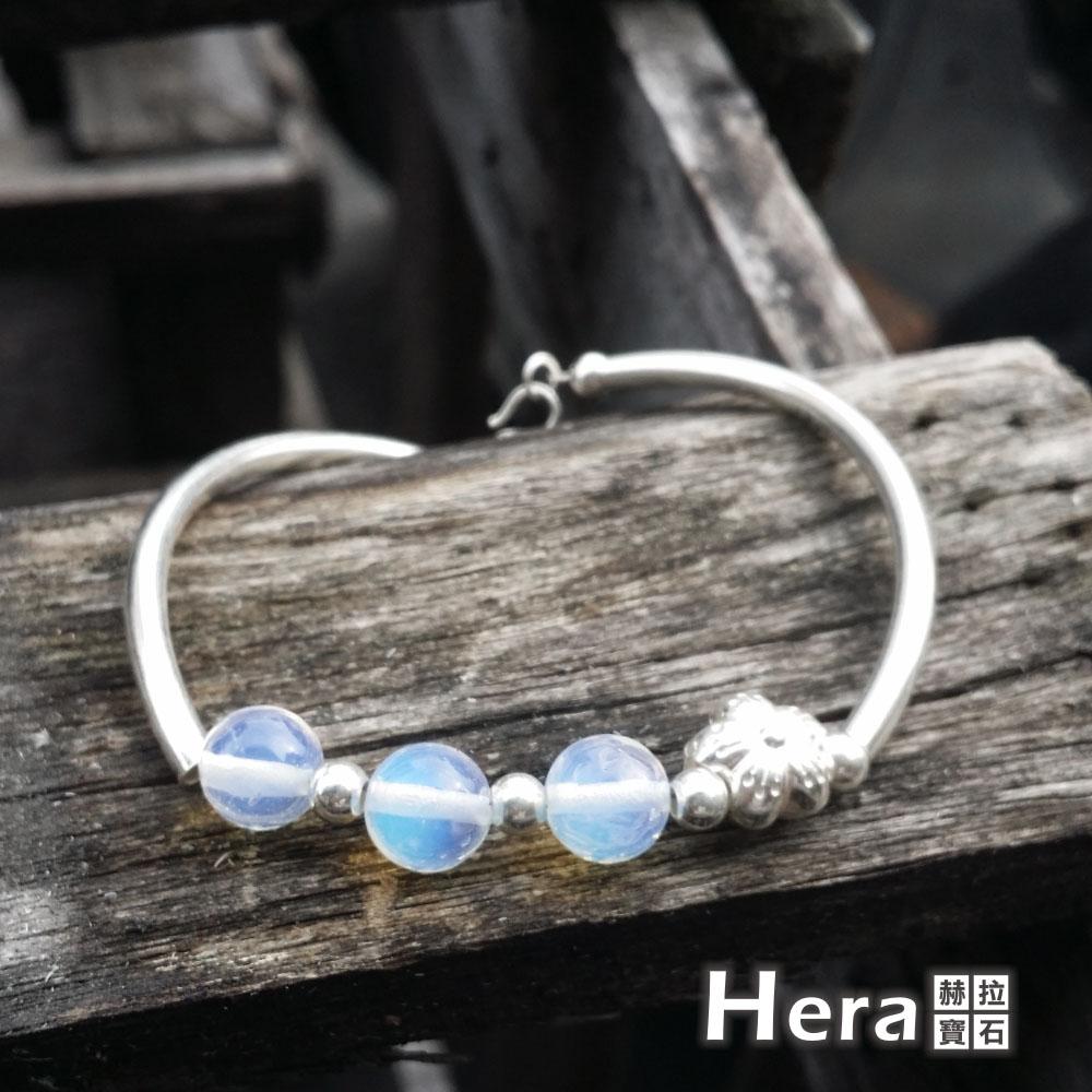 Hera925 純銀手作天然蛋白石圓珠梅花手環/手鍊