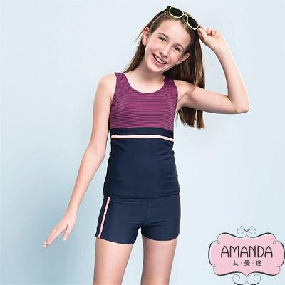AMANDA 少女泳裝 二截褲-紫藍-5704附帽