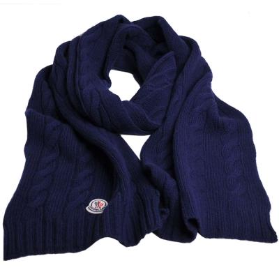 MONCLER 經典品牌圖騰羊毛寬版麻花造型圍巾(深藍色)