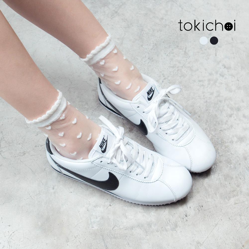 東京著衣 滿版愛心網紗短筒網襪(共二色)