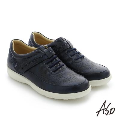 A.S.O 3D超動能 真皮魔鬼氈奈米機能休閒鞋 藍色