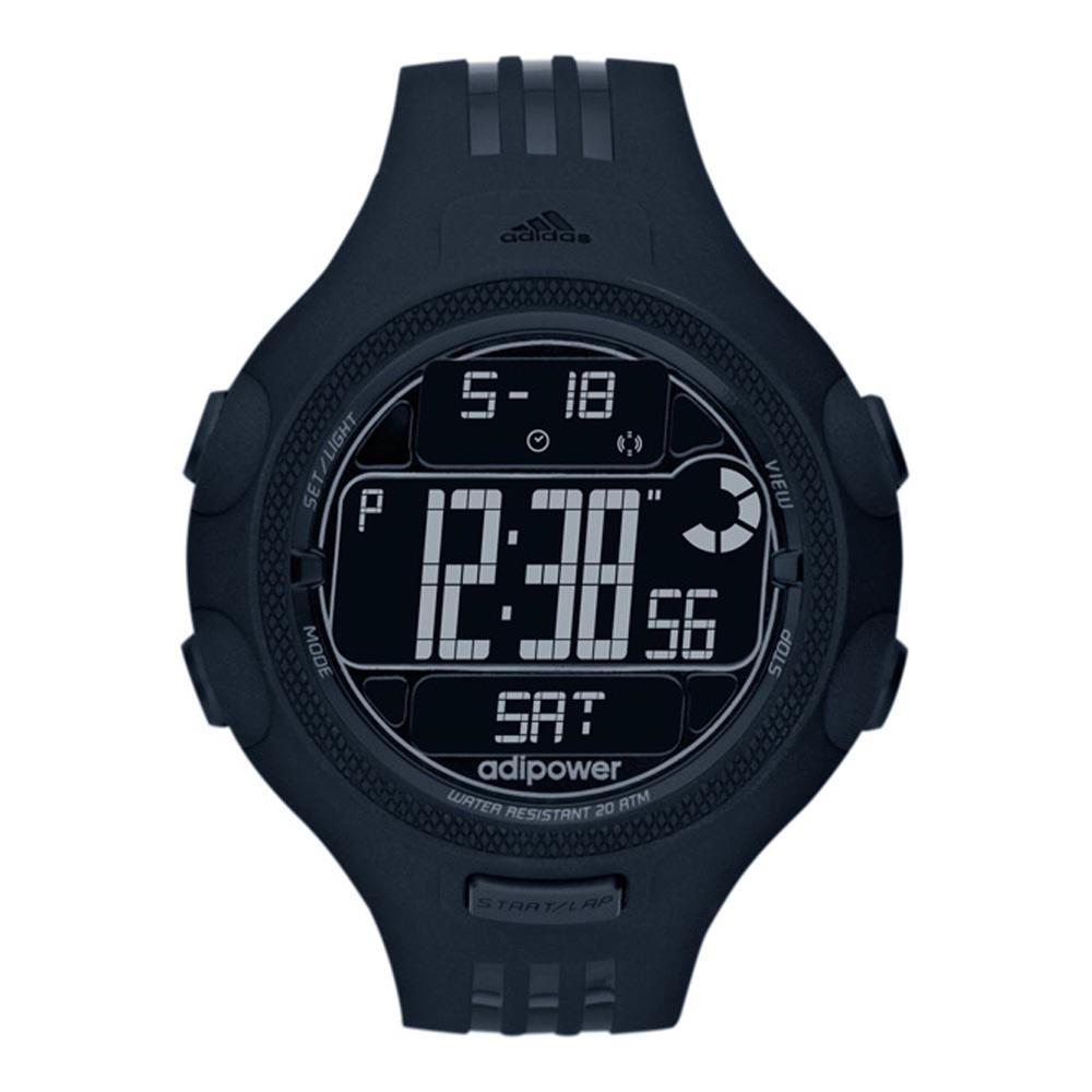 adidas adiPower 能量爆發 運動電子腕錶-黑/52mm