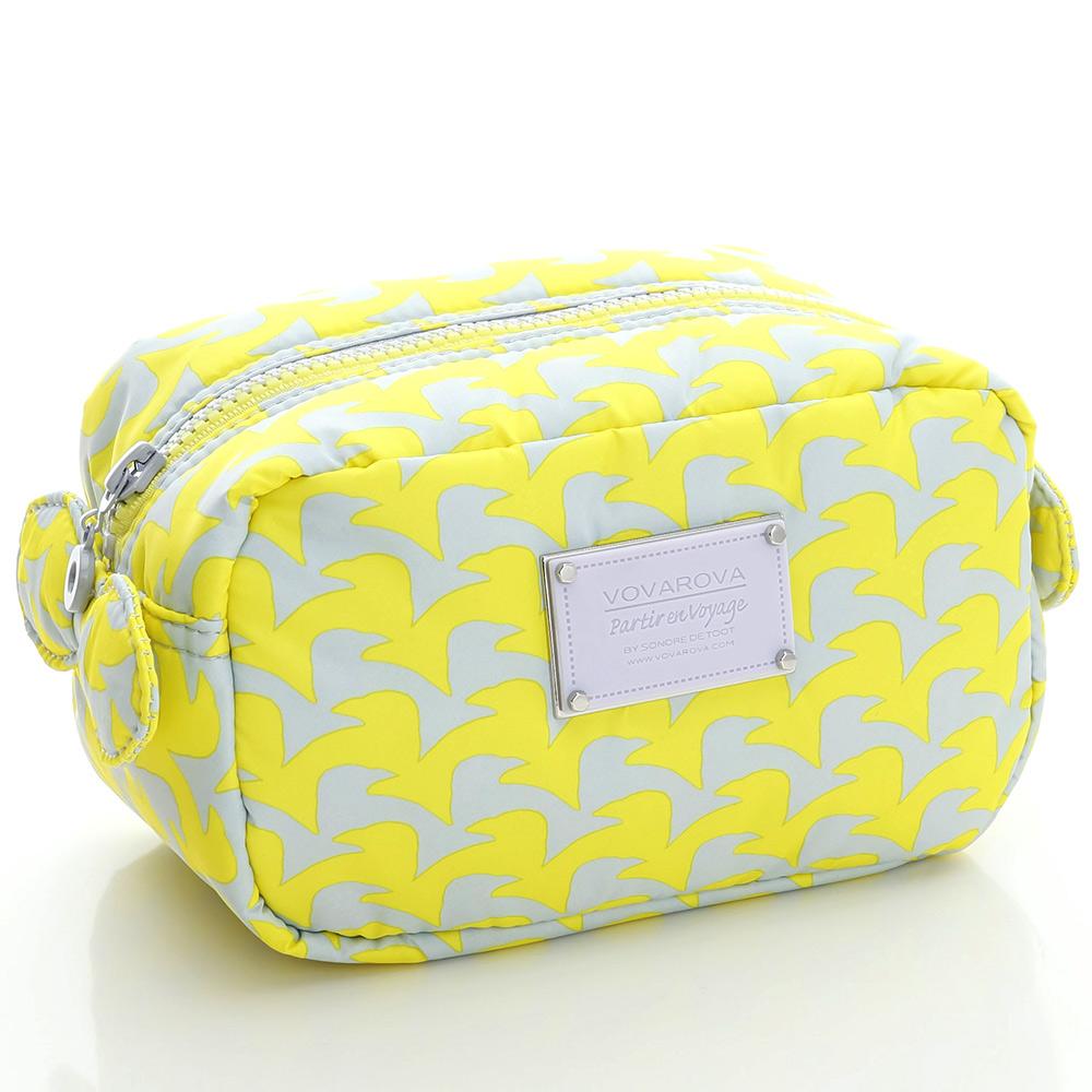 VOVAROVA空氣包-裝不滿化妝包-千鳥飛飛(黃)-法國設計系列