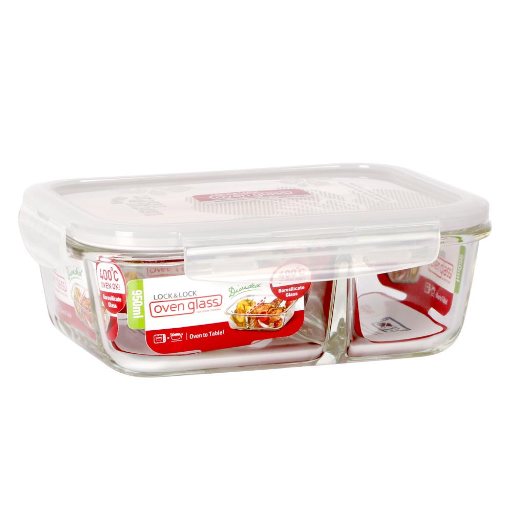 樂扣樂扣 耐熱分隔玻璃保鮮盒-長方形950ML(8H)