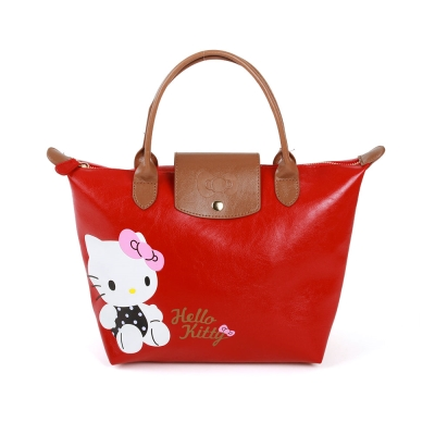 Sanrio HELLO KITTY可愛姿態壓印PU皮革迷你手提包