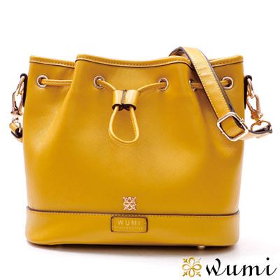 WuMi 無米 貝絲十字紋束口水桶包 萊姆黃