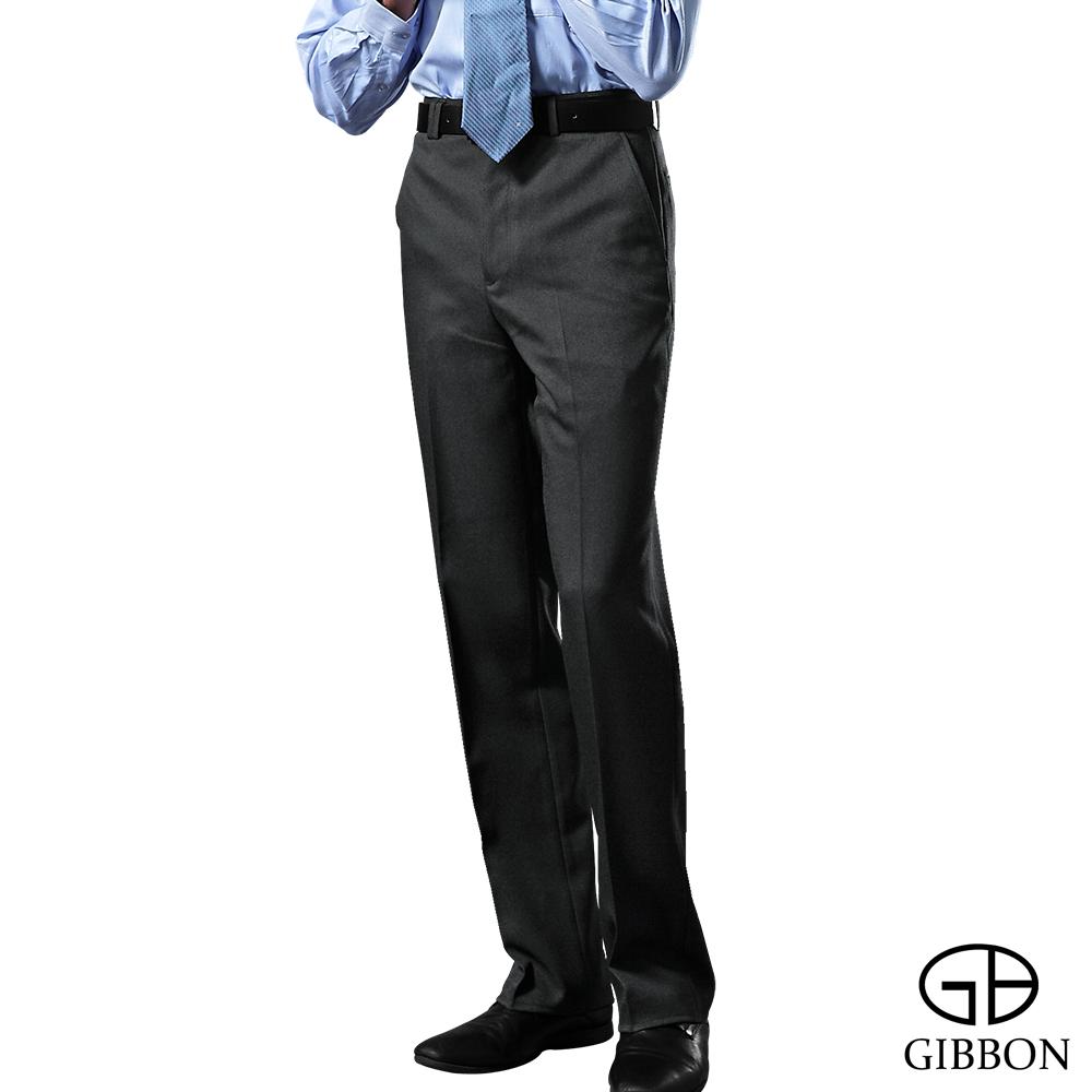 GIBBON 涼爽條紋平口西裝褲‧黑色31-42