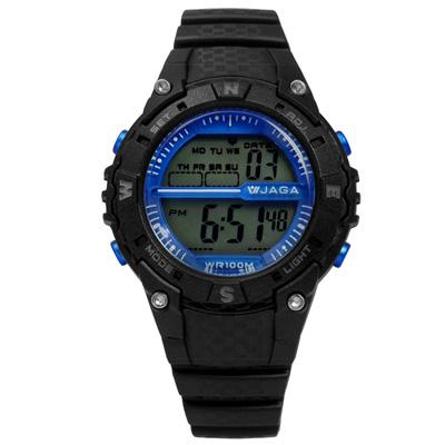 JAGA 捷卡 活力精靈電子運動橡膠腕錶-藍x黑/37mm