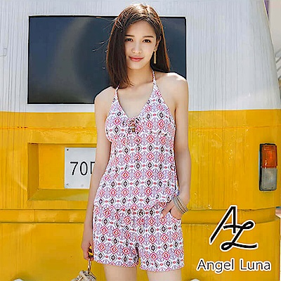 【AngelLuna】菱格圖騰三件式比基尼泳裝(日本直送3-10天到貨)