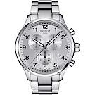 TISSOT天梭 韻馳系列 Chrono XL計時手錶-銀/45mm