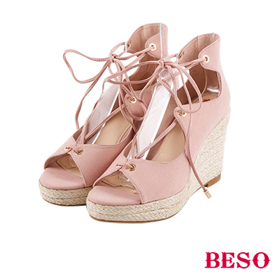 BESO 夏日波西米亞 交叉綁帶蝴蝶結露趾涼鞋~粉紅
