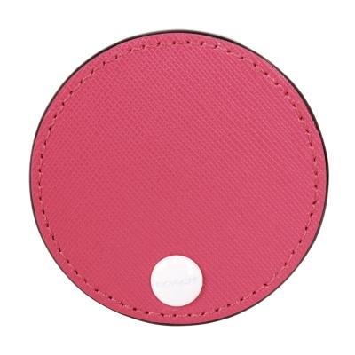 COACH-防刮轉式圓形小隨身鏡-桃粉