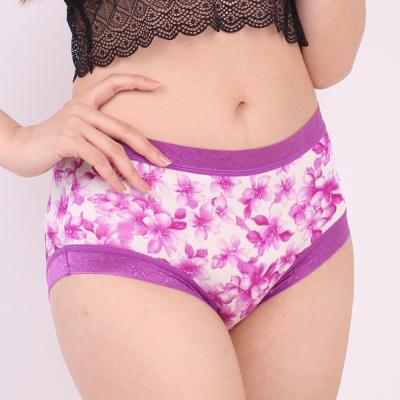 內褲 滿滿花朵100%蠶絲中高腰三角內褲 (紫) Chlansilk 闕蘭絹